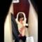 洋式トイレ盗撮 上フロントアングル 鏡に向かって終始笑顔の練習をしているOLちゃんの下痢用足しシーン